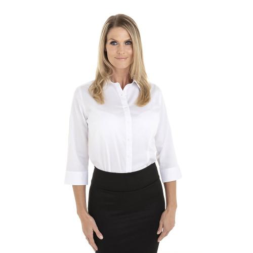 White - 18CV304 Van Heusen Ladies' ¾ Sleeve Dress Twill Shirt | T-shirt.ca