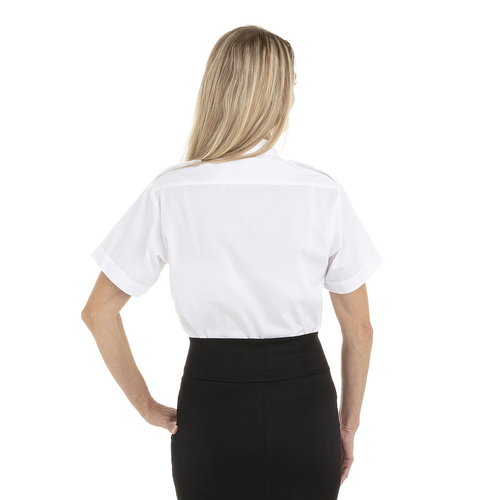 White - Back, 18CV311 Van Heusen Ladies' Short Sleeve Aviator Shirt | T-shirt.ca