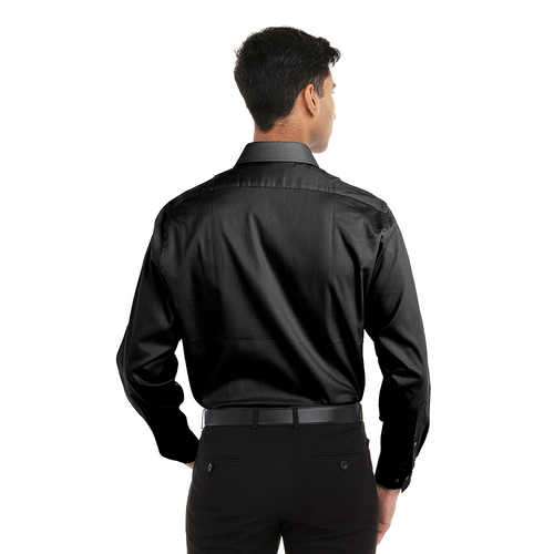 Black - Back, 18CV315 Van Heusen Long Sleeve Flex Stretch Shirt | T-shirt.ca