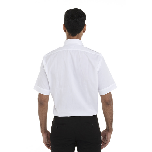 White - Back, 18CV320 Van Heusen Short Sleeve Aviator Shirt | T-shirt.ca
