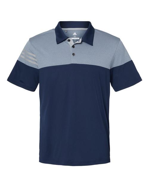 A213 Adidas Heathered 3-Stripes Colorblock Sport Shirt | T-shirt.ca