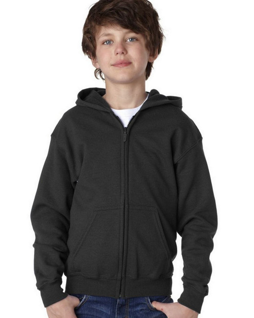 Black - 18600B Gildan Youth Full Zip Hoodie | T-shirt.ca