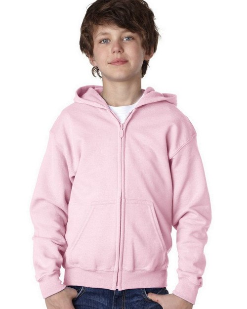 Light Pink - 18600B Gildan Youth Full Zip Hoodie | T-shirt.ca