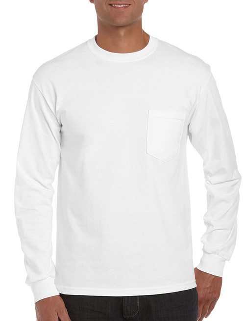 White - 2410 Gildan Long Sleeve T-shirt With Pocket | T-shirt.ca