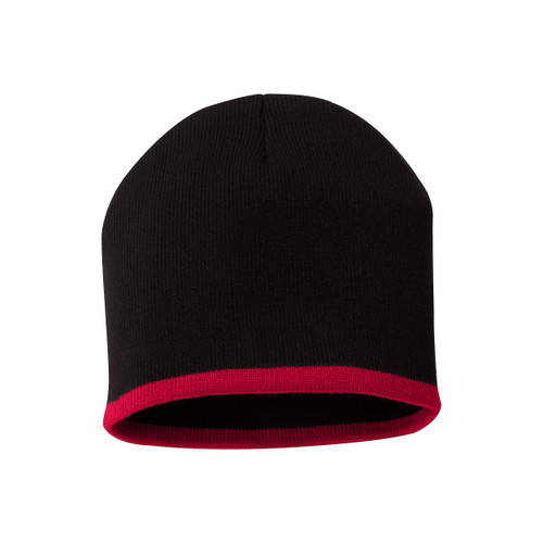 "Black/Red - SP09 Sportsman Bottom Stripe Acrylic Knit 8"" Toque | T-shirt.ca"