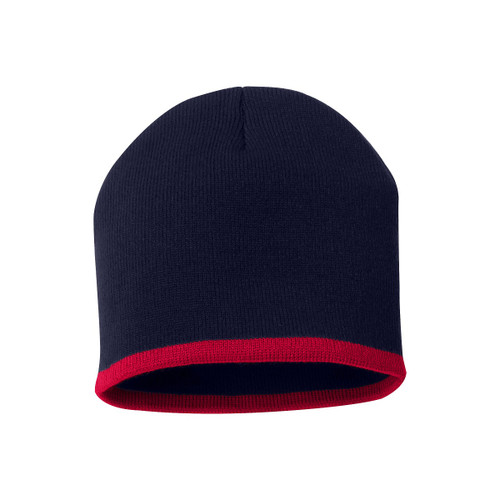 "Navy/Red - SP09 Sportsman Bottom Stripe Acrylic Knit 8"" Toque 