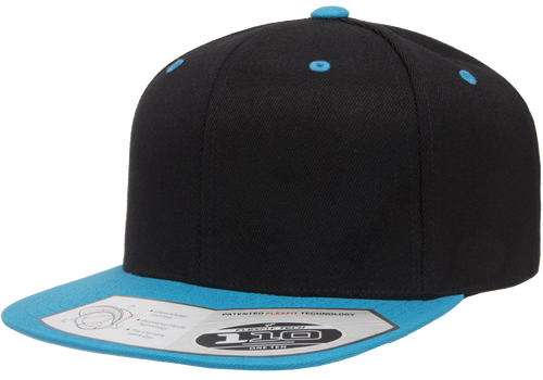 aee9ead4d450f7 Black/Teal - FF110F Flexfit Wool Blend Flat Bill Snapback Hat | T-shirt ...