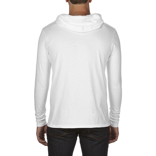 White/Dark Grey, Back - 987 Anvil CRS Long-Sleeved Hooded Tee | T-shirt.ca