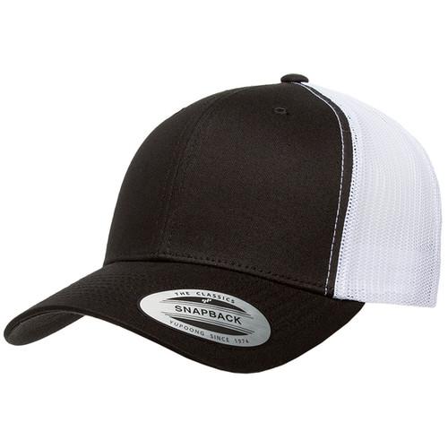 Black/White - YU6606 Yupoong Retro Trucker Cap   T-shirt.ca