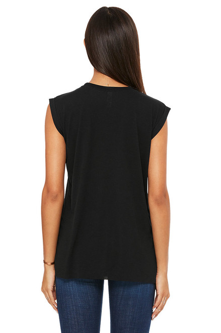 Black - Back, 8804 Bella+Canvas Women's Flowy Muscle Tee With Rolled Cuff | T-shirt.ca