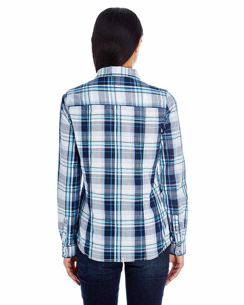 Navy - Back, BR5222 Burnside Ladies Long Sleeve Plaid Shirt | T-shirt.ca