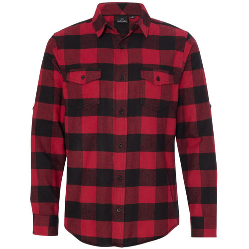 Red/Black - BR8210 Burnside Men's Woven Plaid Flannel | T-shirt.ca
