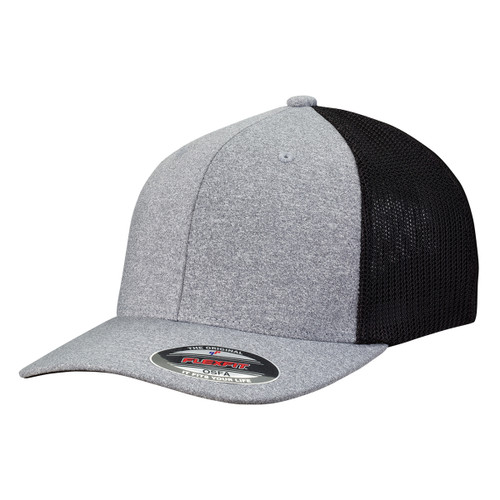 Heather/Black - FF6311 Flexfit Melange Mesh Trucker Cap | T-shirt.ca