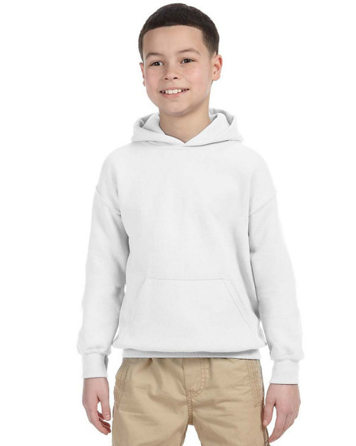 White - 18500B Gildan Youth Hooded Sweatshirt | T-shirt.ca