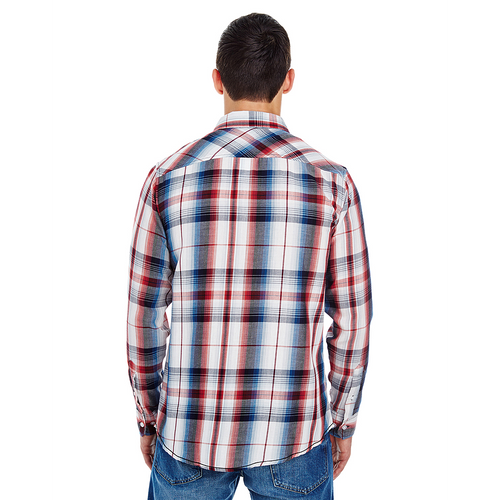 Red - 8202 Burnside Men's Long Sleeve Plaid Shirt