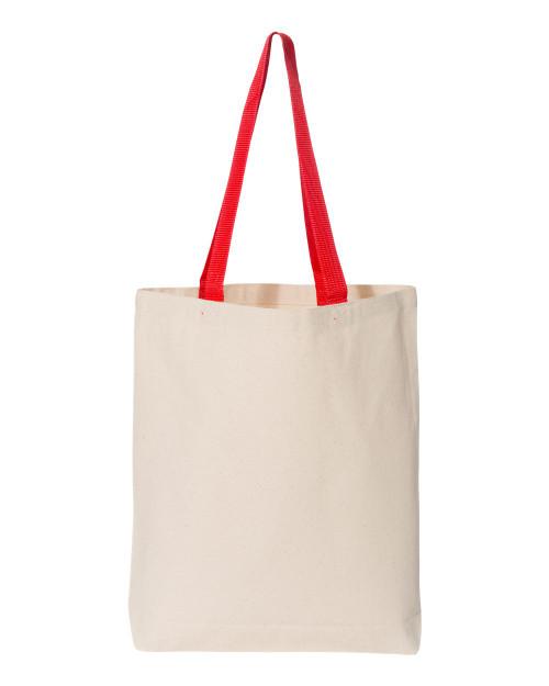Q4400 Q-Tees Canvas Tote Bag Colour Handles | T-shirt.ca