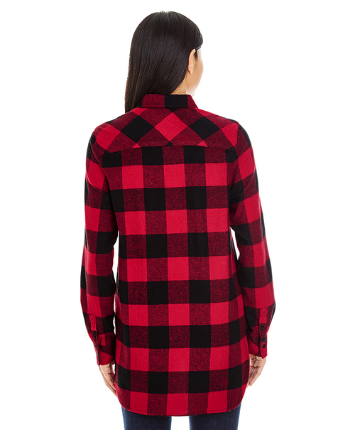 Red/Black - Back, BR5210 Burnside Ladies Woven Plaid Flannel | T-shirt.ca