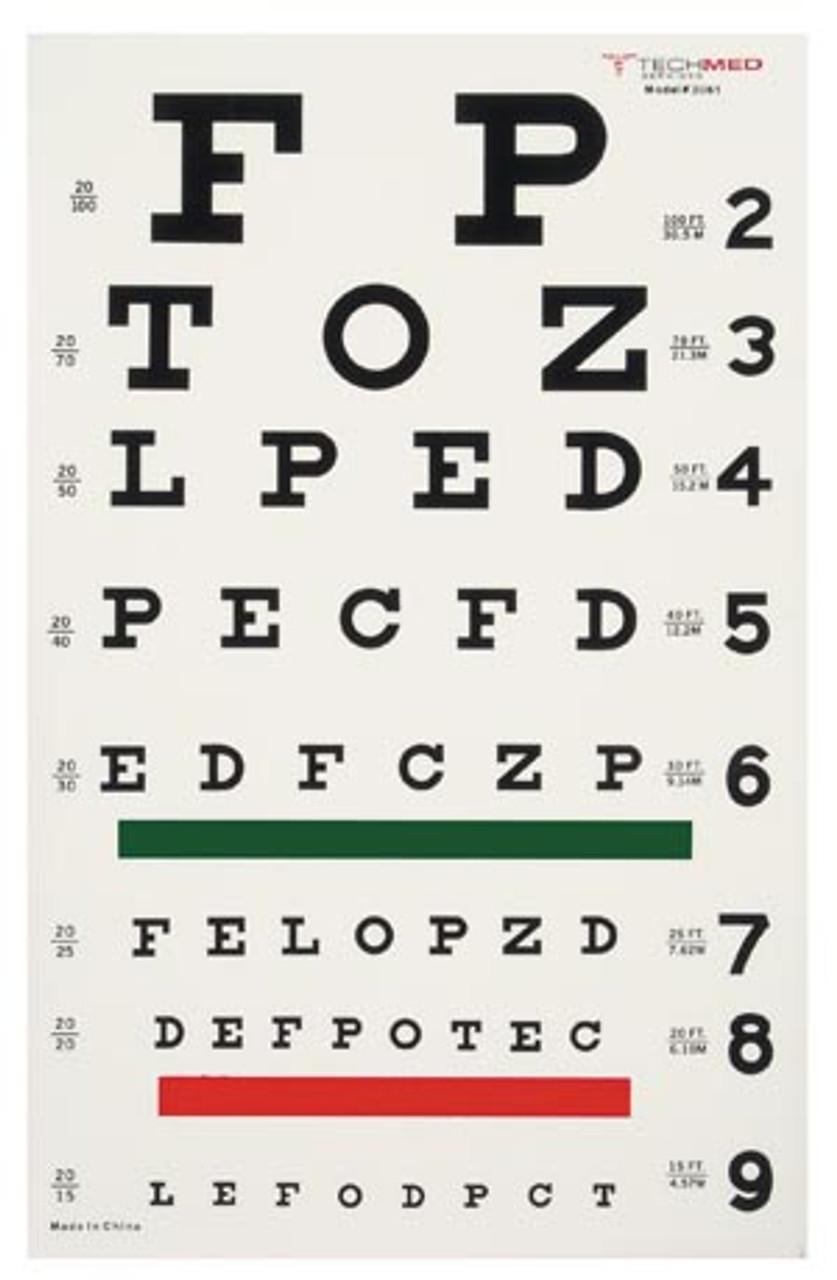 3061 Dukal Corporation Illuminated Snellen Eye Test Chart 20 Ft Sold As Ea