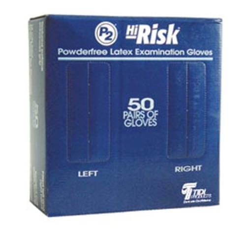 """932483-1 TIDI Products, LLC Exam Gloves, Latex, Powder Free (PF), Large, Blue, 12""""L Beaded Cuff, 18 Mils, 50 pr/bx, 10 bx/cs Sold as cs"""