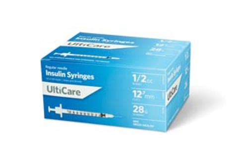 "8258 UltiMed, Inc. Insulin Syringe, 1/2cc, 28G x  1/2"", 100/bx Sold as bx"