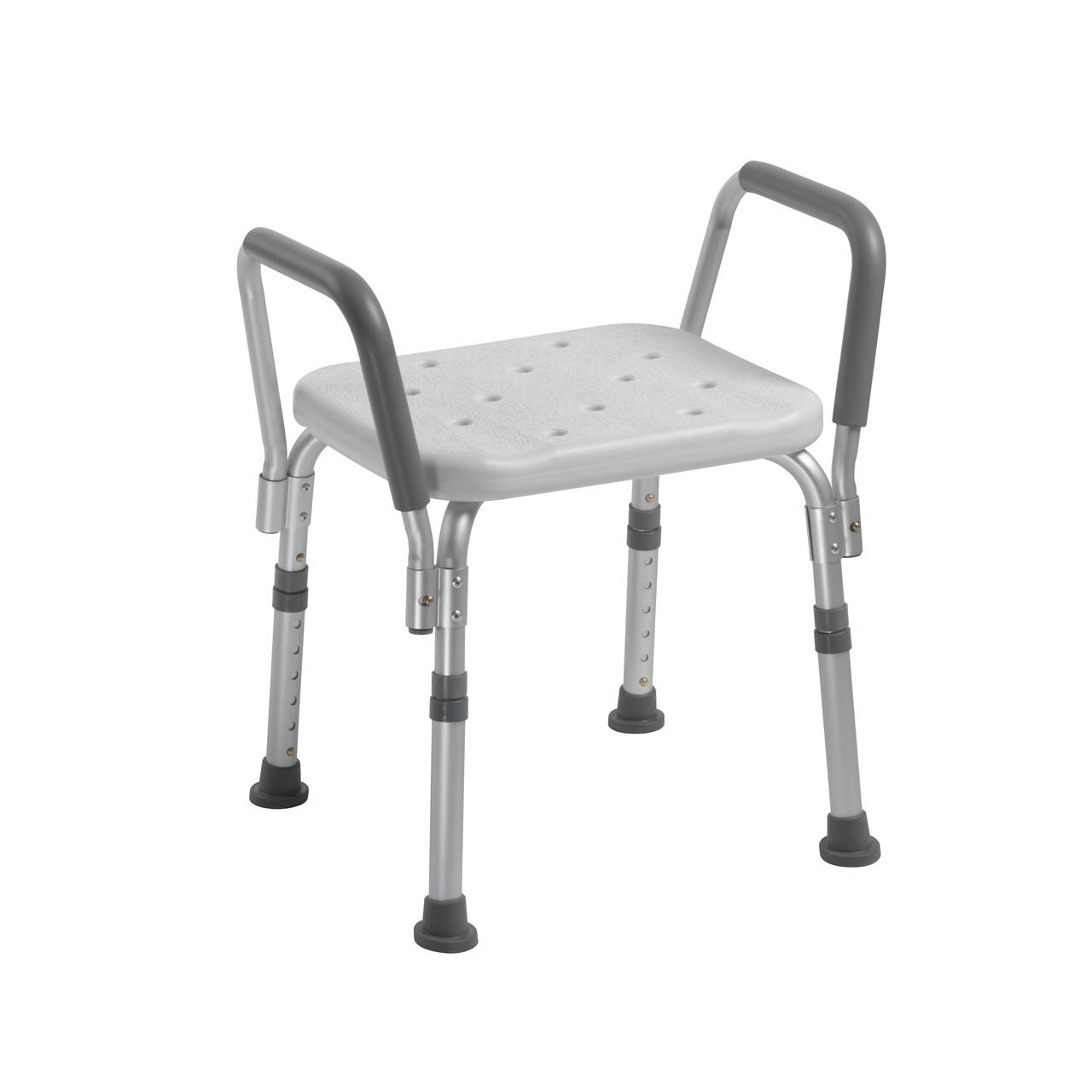 White Drive Medical Knock Down Bath Bench with Back and Padded Arms