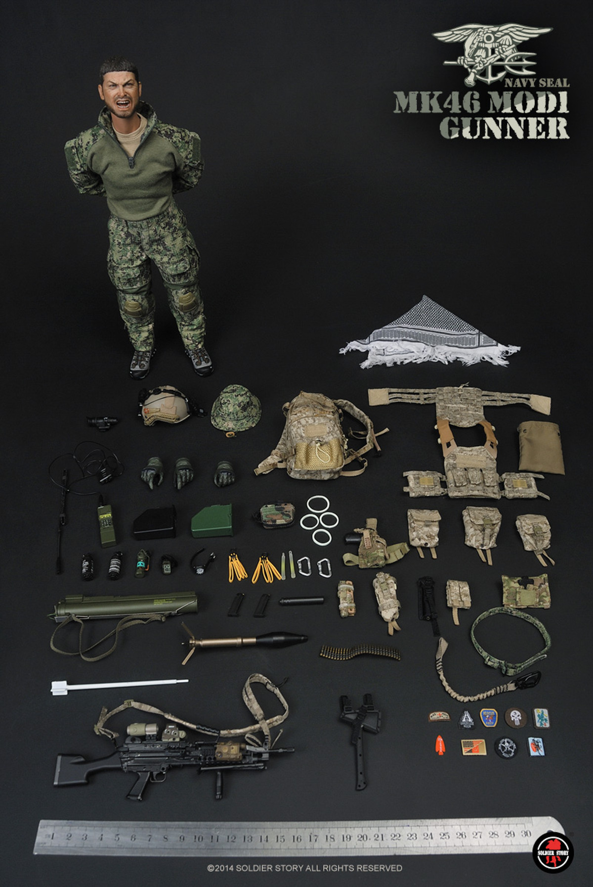 Navy Seal MK46MOD1 Gunner Radio Set 1//6th Scale Figure by Soldier Story