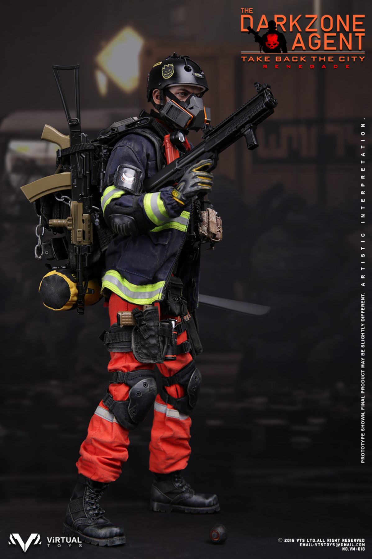 blk T-shirt 1//6 Scale VTS Toys VM-018 THE DARKZONE AGENT RENEGADE