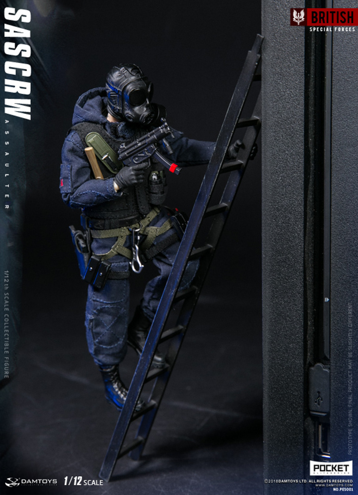 British Special Forces Pocket Elite Series SAS CRW Assaulter 1//12 Scale Figure