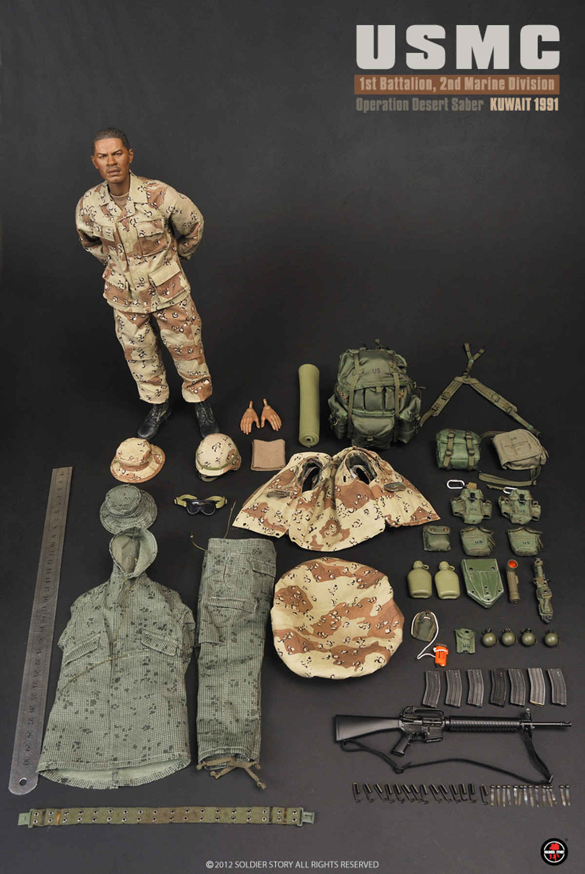1//6TH SCALE SOLDIER STORY USMC ACCESSORIES 1ST BATTALION 2ND MARINE DIV