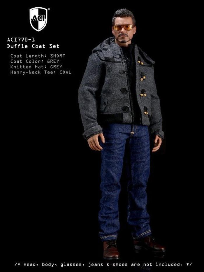 ACI - 1/6th Duffle Coat Set Grey Short Duffle Coat, Coal Henry Neck Tee, Grey Knitted Hat