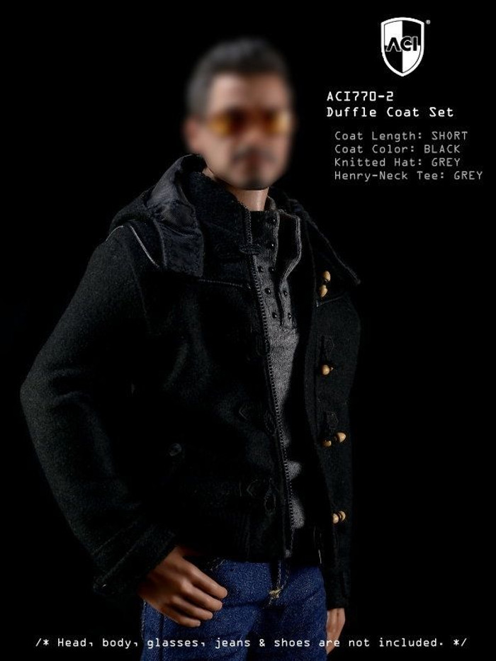 ACI - 1/6th Duffle Coat Set Black Short Duffle Coat, Grey Henry-neck Tee, Grey Knitted Hat