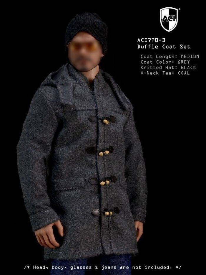 ACI - 1/6th Duffle Coat Set Grey Medium Coat, Coal long sleeves Tee, Black Knitted Hat