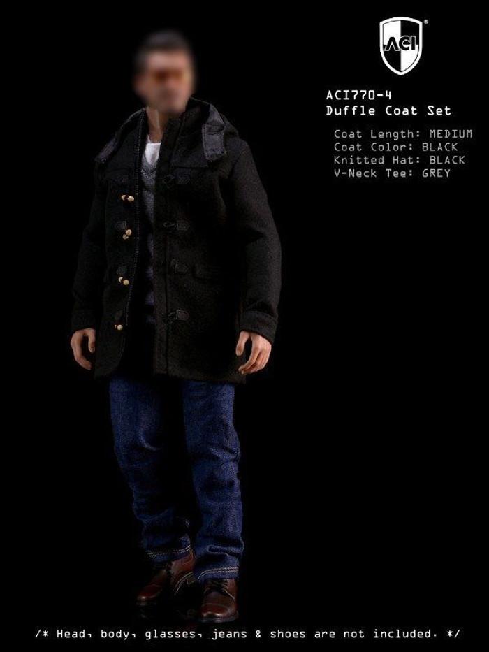 ACI - 1/6th Duffle Coat Set Black Medium Coat, Grey long sleeves Tee, Black Knitted Hat