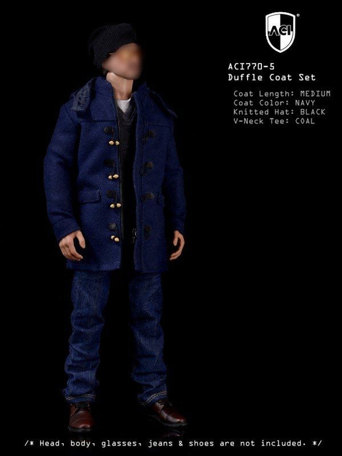 ACI - 1-6th Duffle Coat Set Navy medium Coat, Coal Long Sleeves Tee, Black Knitted Hat