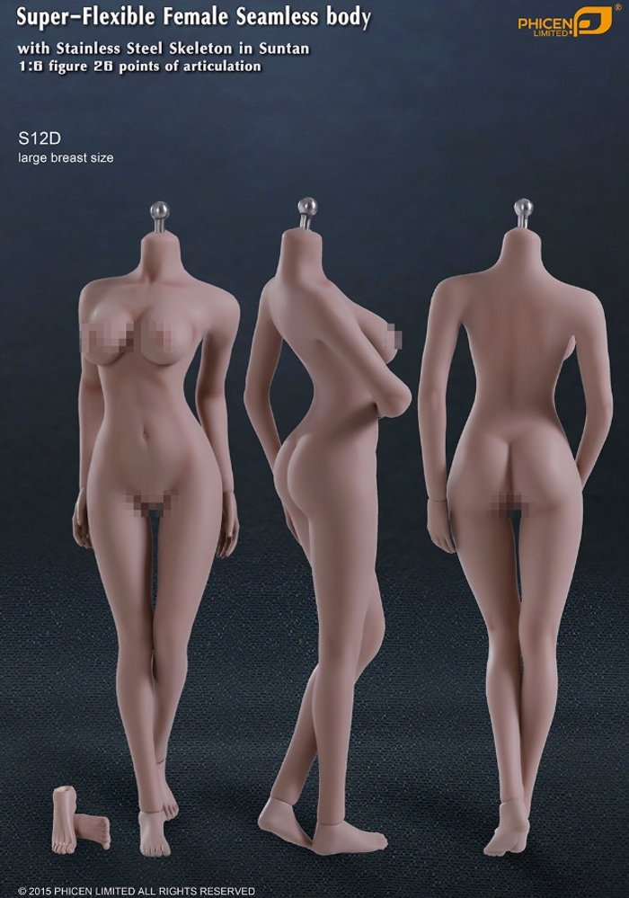 Phicen - Female Body - Seamless Stainless Steel Skeleton in Suntan/Large Breast with Removable Feet (S12D)