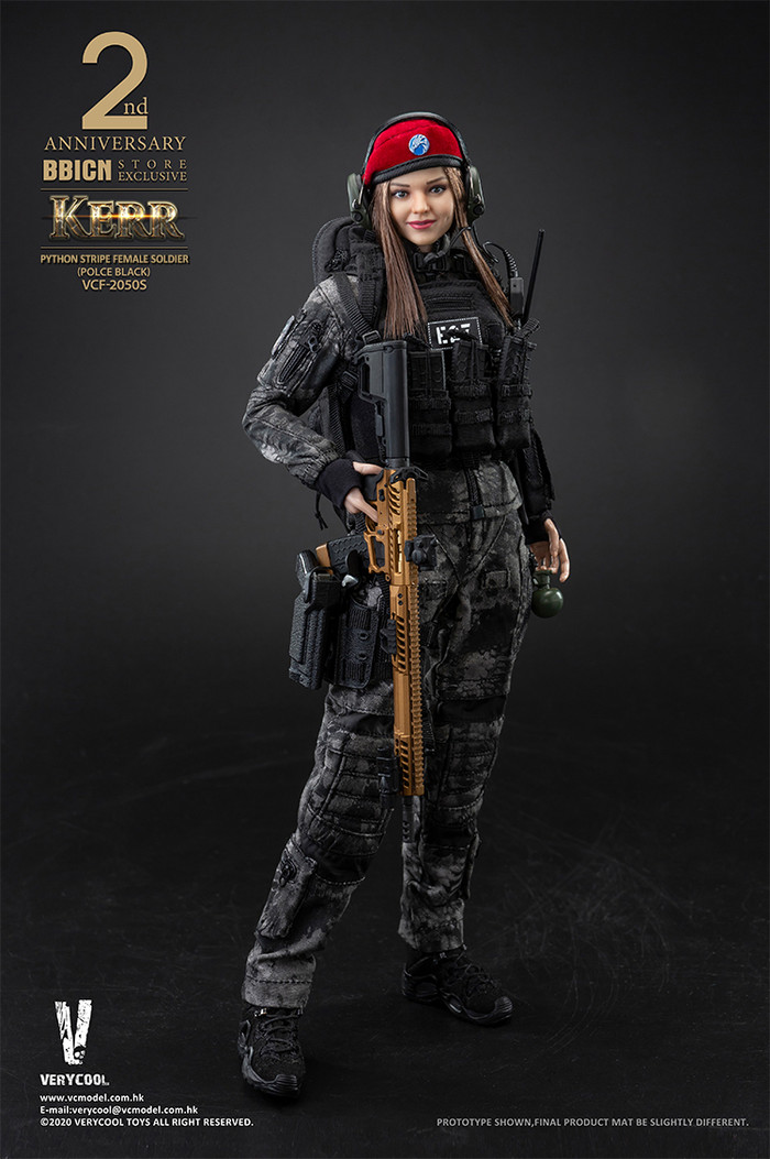 Very Cool - Police Black Python Stripe Female Soldier - Kerr