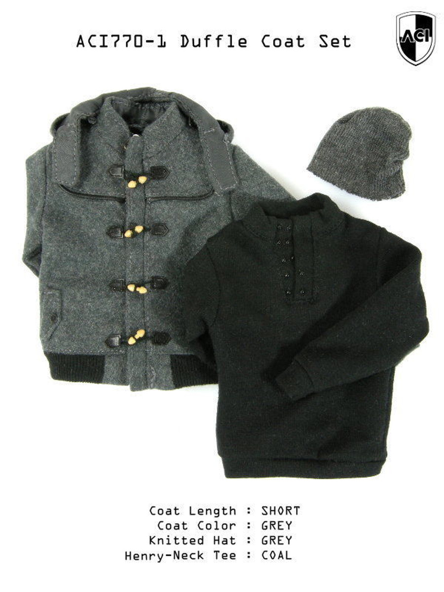 ACI - 1/6th Duffle Coat Set Grey Short Duffle Coat, Coal Henry Neck Tee, Grey Knitted Hat