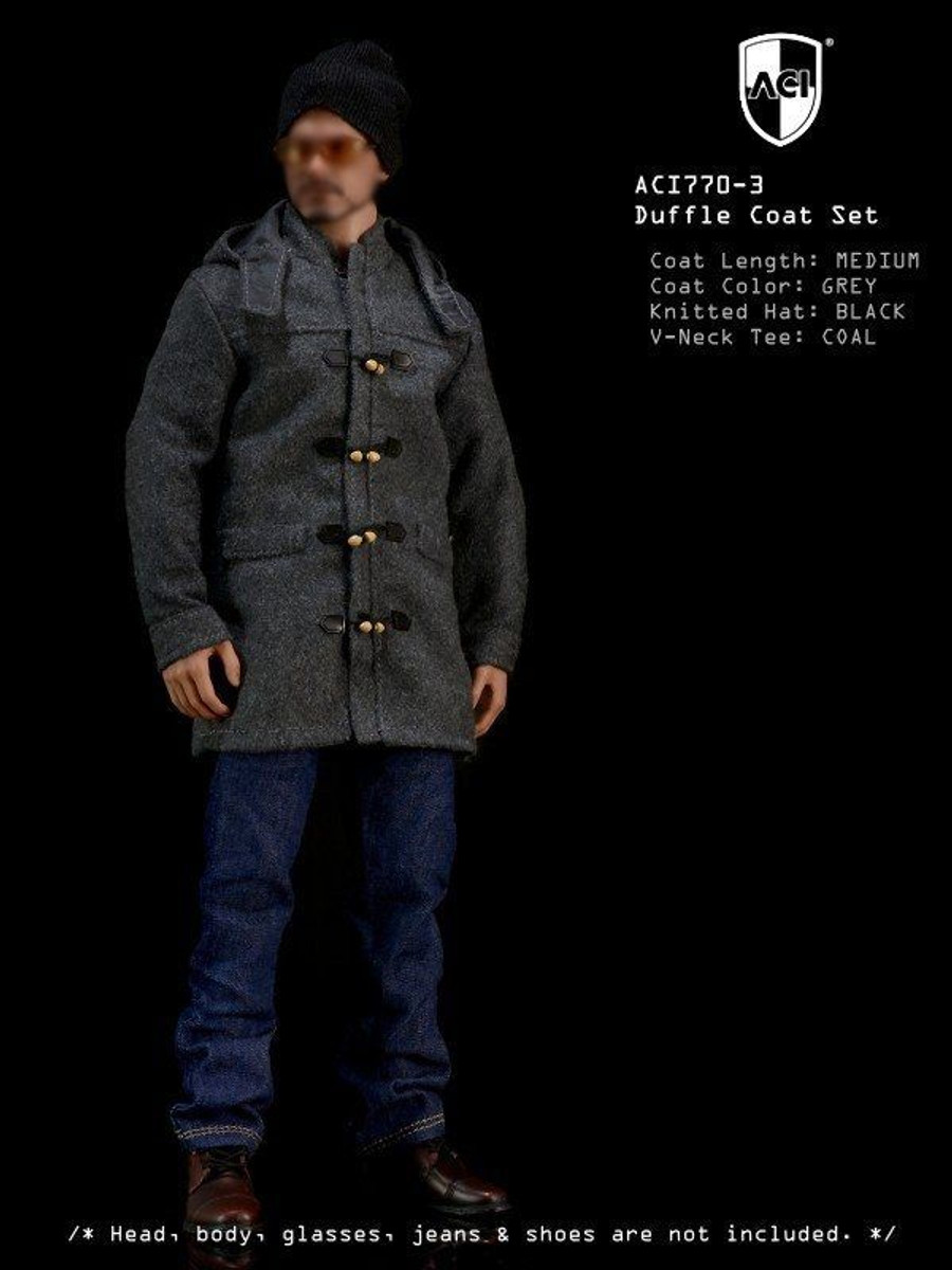 ACI - 1/6th Duffle Coat Set Grey Medium Coat, Coal long sleeves Tee, Black Knitted Hat