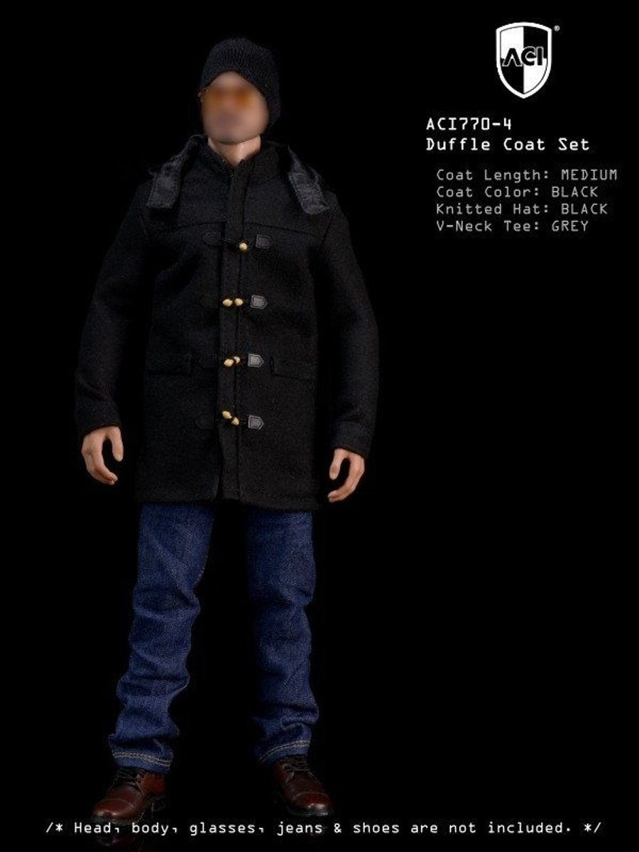 ACI - 1/6th Duffle Coat Set Black Medium Coat, Grey long sleeves Tee, Black Knitted Hat