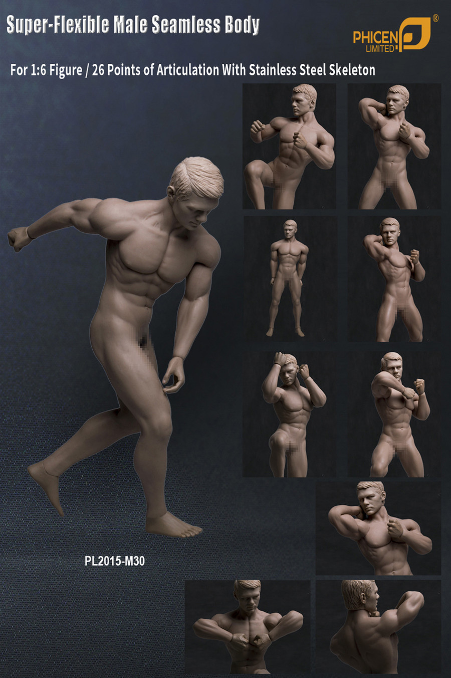 Phicen - Flexible Stainless Steel Seamless Male Body