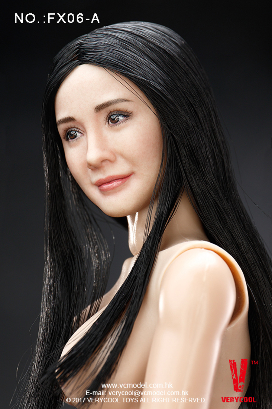 Very Cool - Asian Actress Black Straight Hair Headsculpt + VC 3.0 Female Body Set