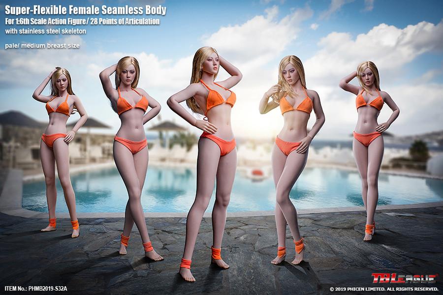 TBLeague - Super-Flexible Female Seamless Body with Stainless Steel Skeleton -  S33B Suntan
