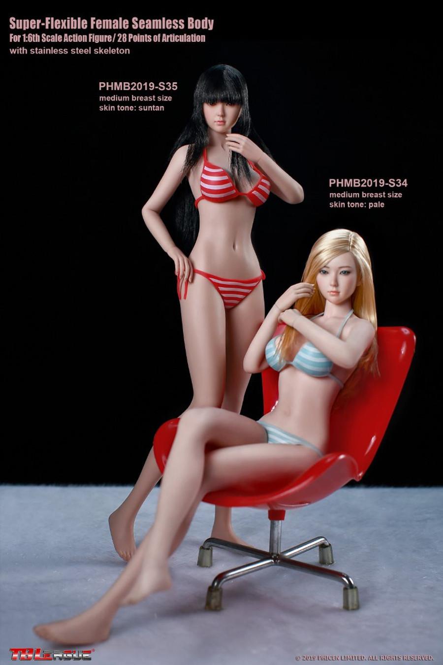 TBLeague - Girl Super-Flexible Seamless Body with Head Sculpt - S34 Pale Medium