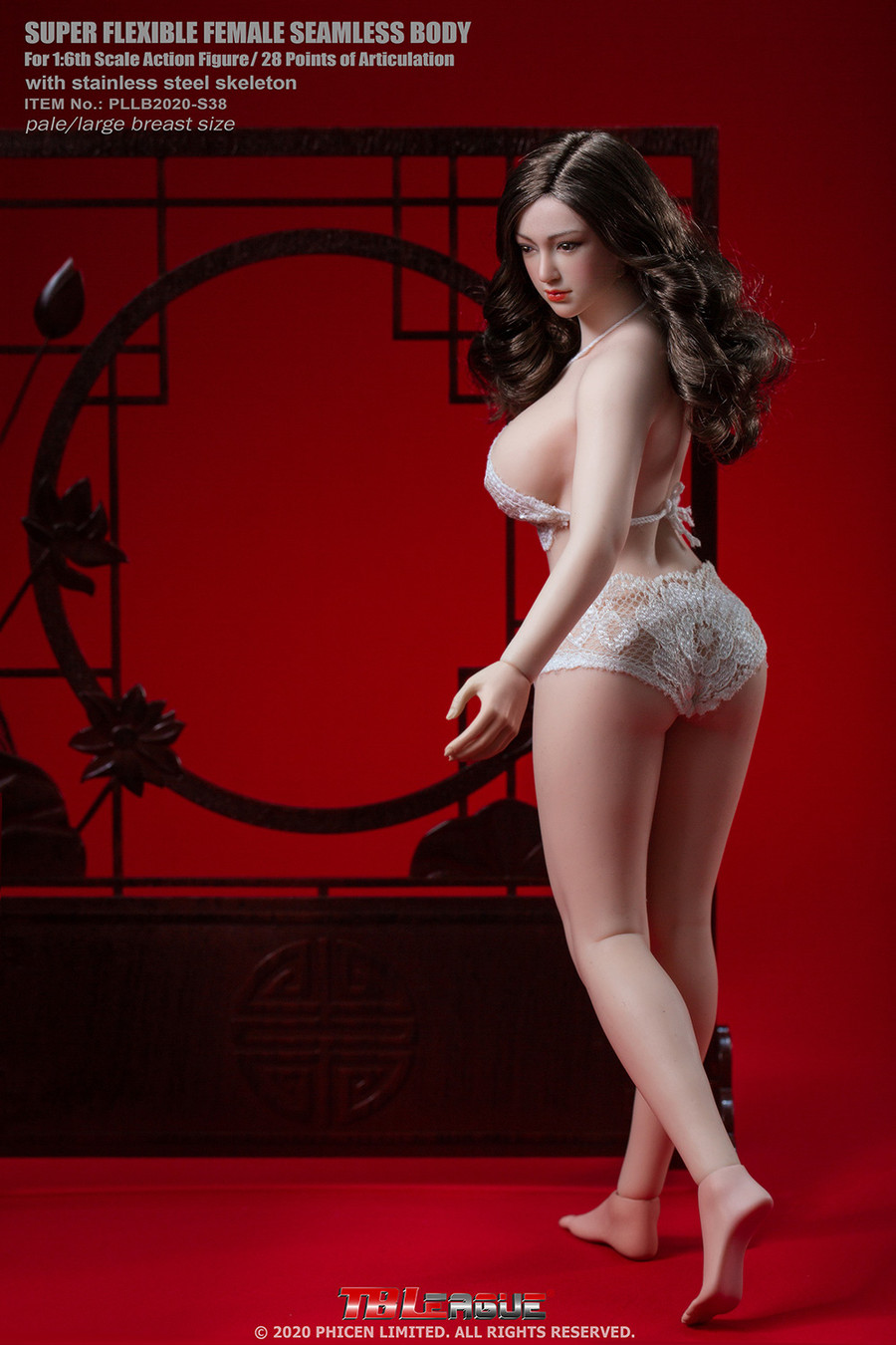 TBLeague - Female Super-Flexible Seamless Body with Head - Large Bust Body in Pale S38