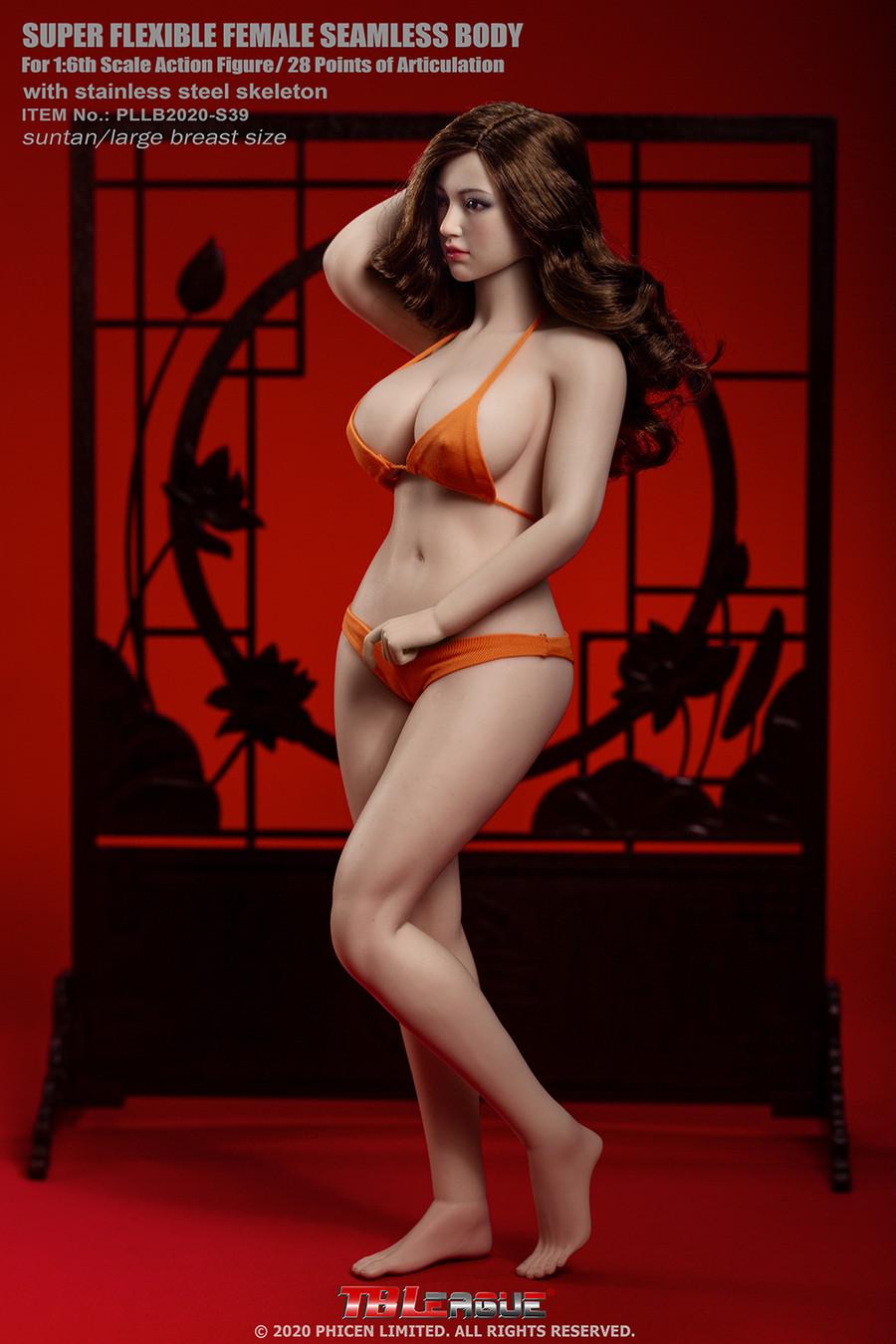 TBLeague - Female Super-Flexible Seamless Body with Head - Large Bust Body in Suntan S39