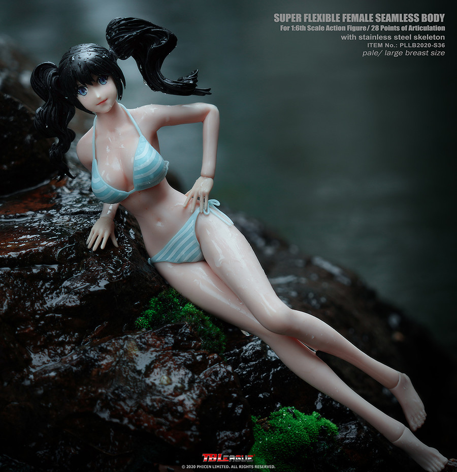 TBLeague - Anime Girl Super-Flexible Seamless Body with Head - Large Bust Body in Pale S36