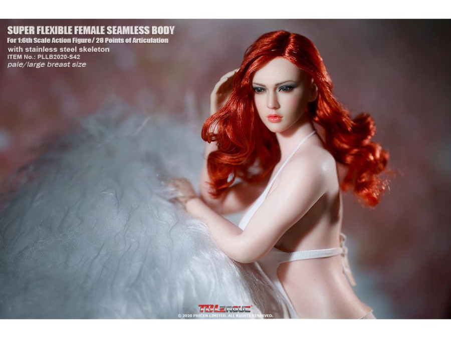 TBLeague - Female Super-Flexible Seamless Body with Headsculpt - Large Bust Body in Pale S42