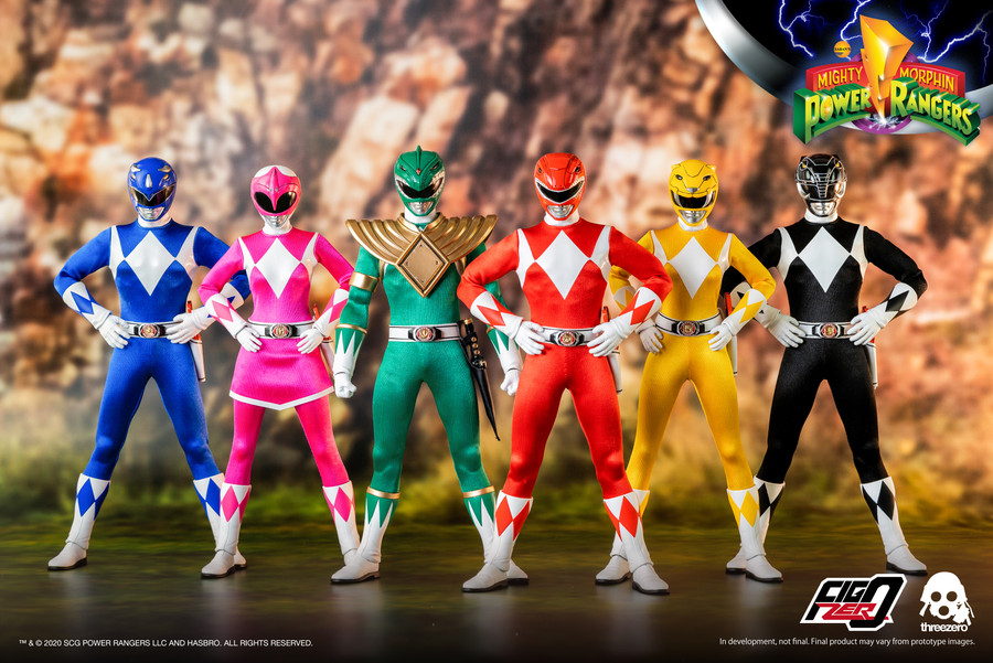 Threezero - Mighty Morphin Power Rangers – Core Rangers and Green Ranger Six-Pack