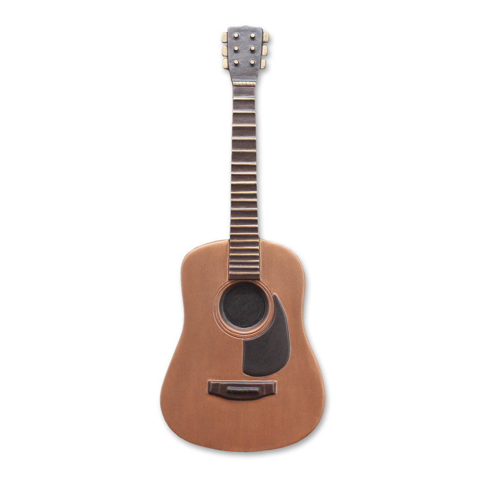 White background picture of guitar urn