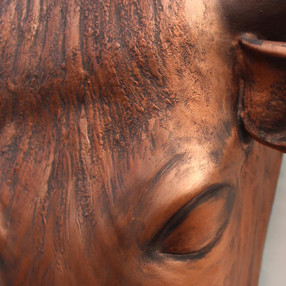 Texas Longhorn Bull Bust Urn - Detail